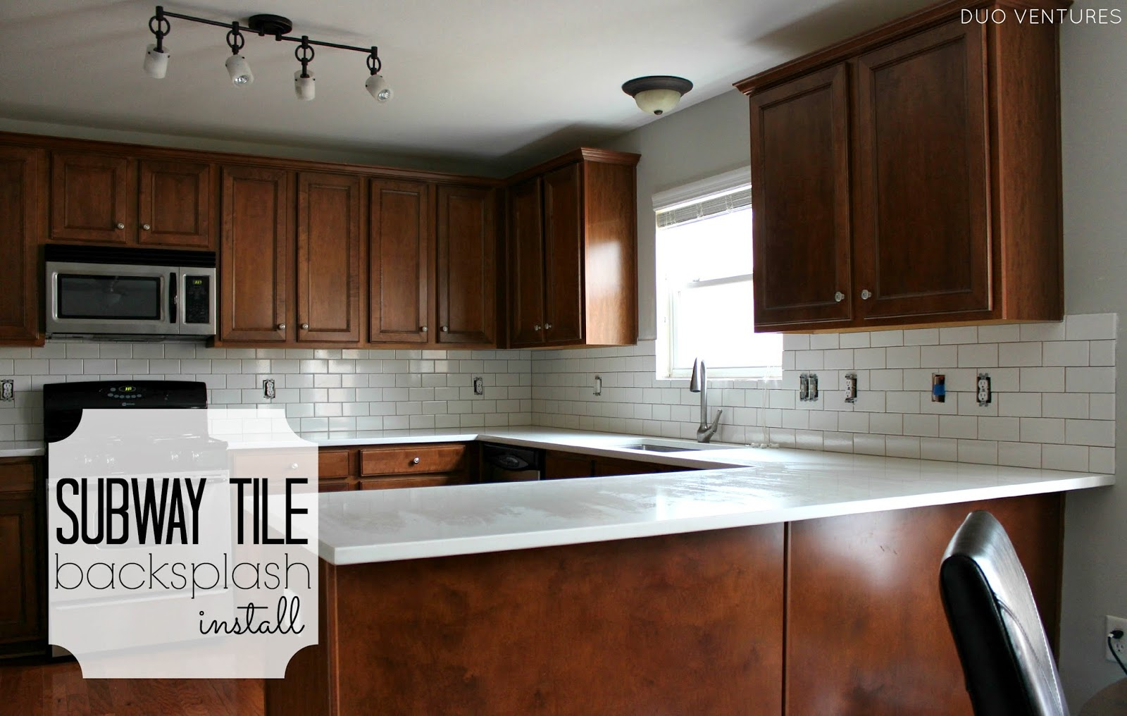 duo ventures: kitchen makeover: subway tile backsplash installation