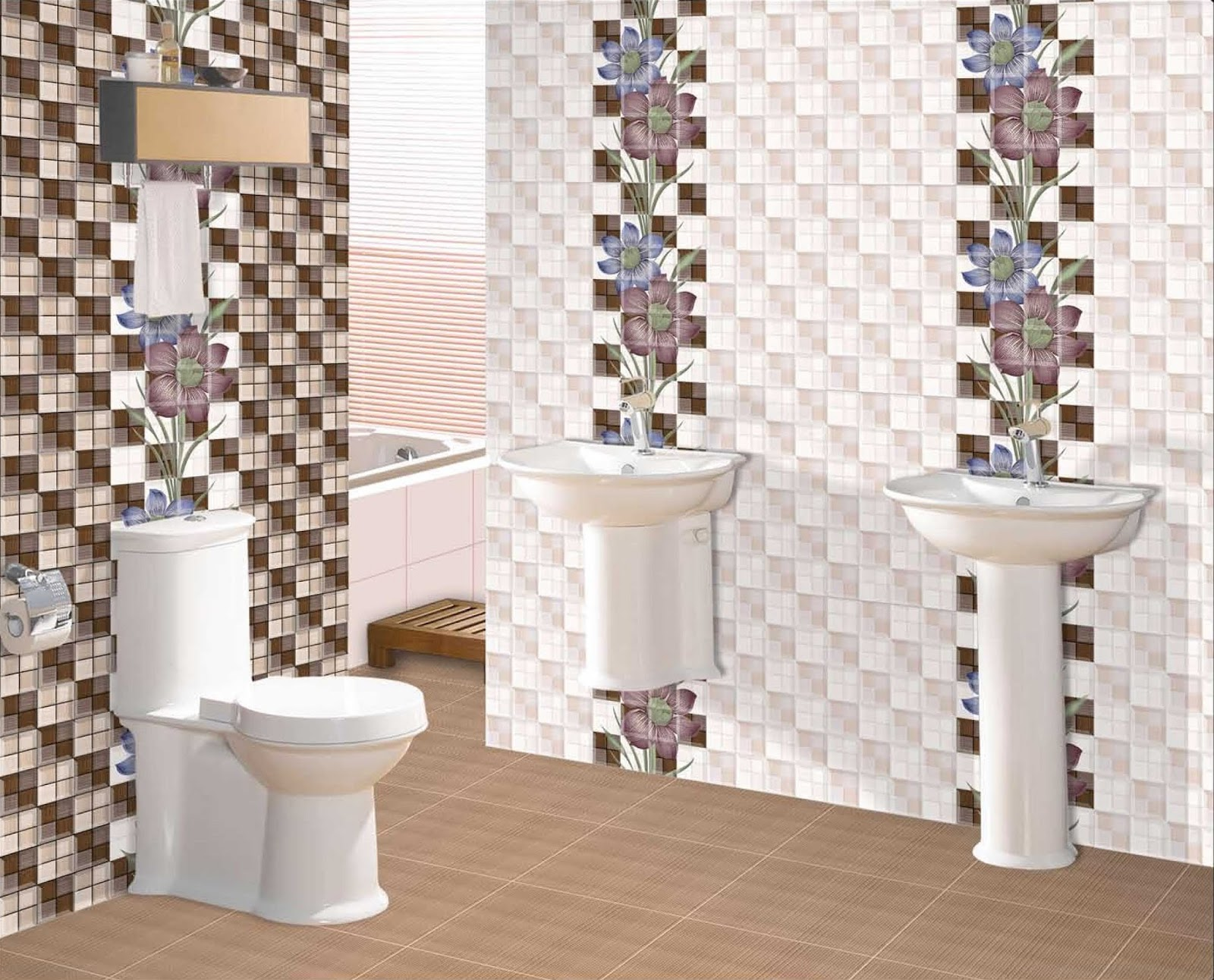 Bathroom Digital Tiles Design : Innovative Orange Bathroom Digital ...