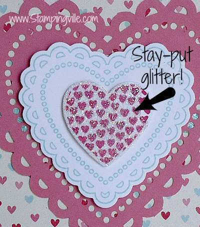 Hearts close up with glitter