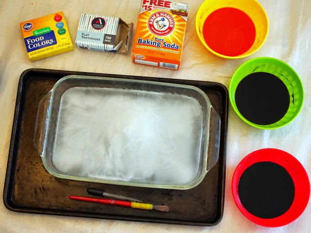 set up for fizzy ice painting