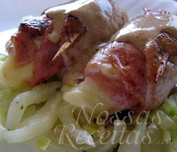 receita preparada com lombos de porco enroladinhos com acelga