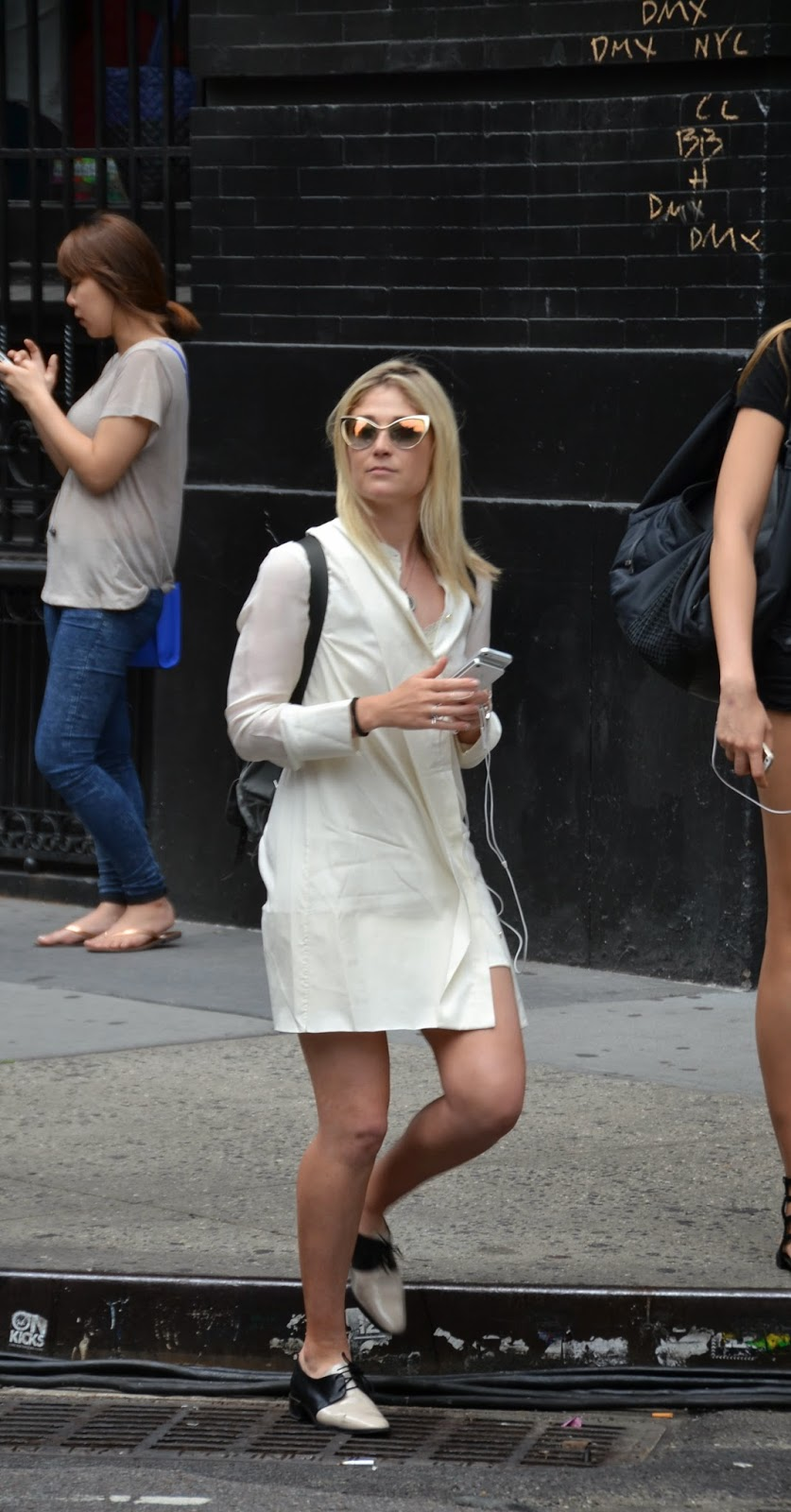 new york city street style white jacket alien sunglasses