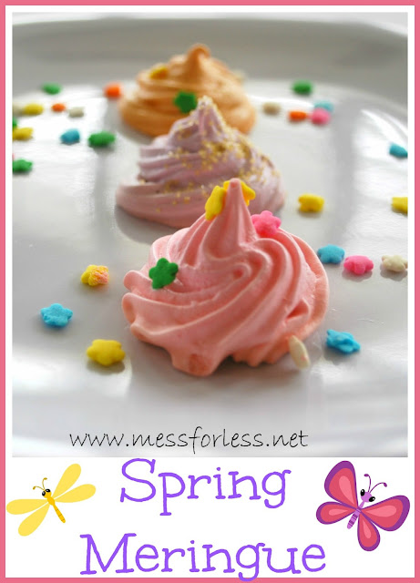 Spring Meringue Recipe - These were so easy to make and will just melt in your mouth! #meringue #recipe #cookie