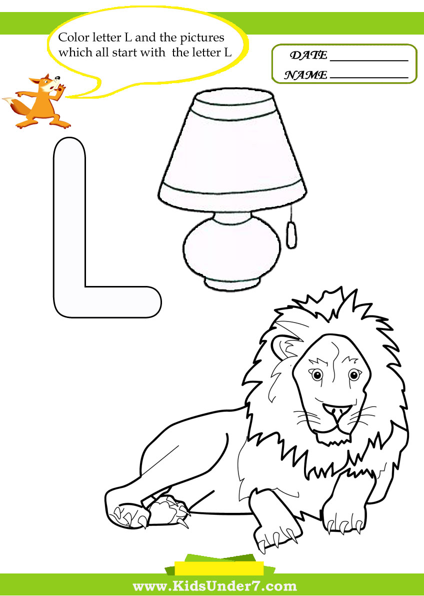 math worksheet : kids under 7 letter l worksheets and coloring pages : Letter L Worksheets Kindergarten