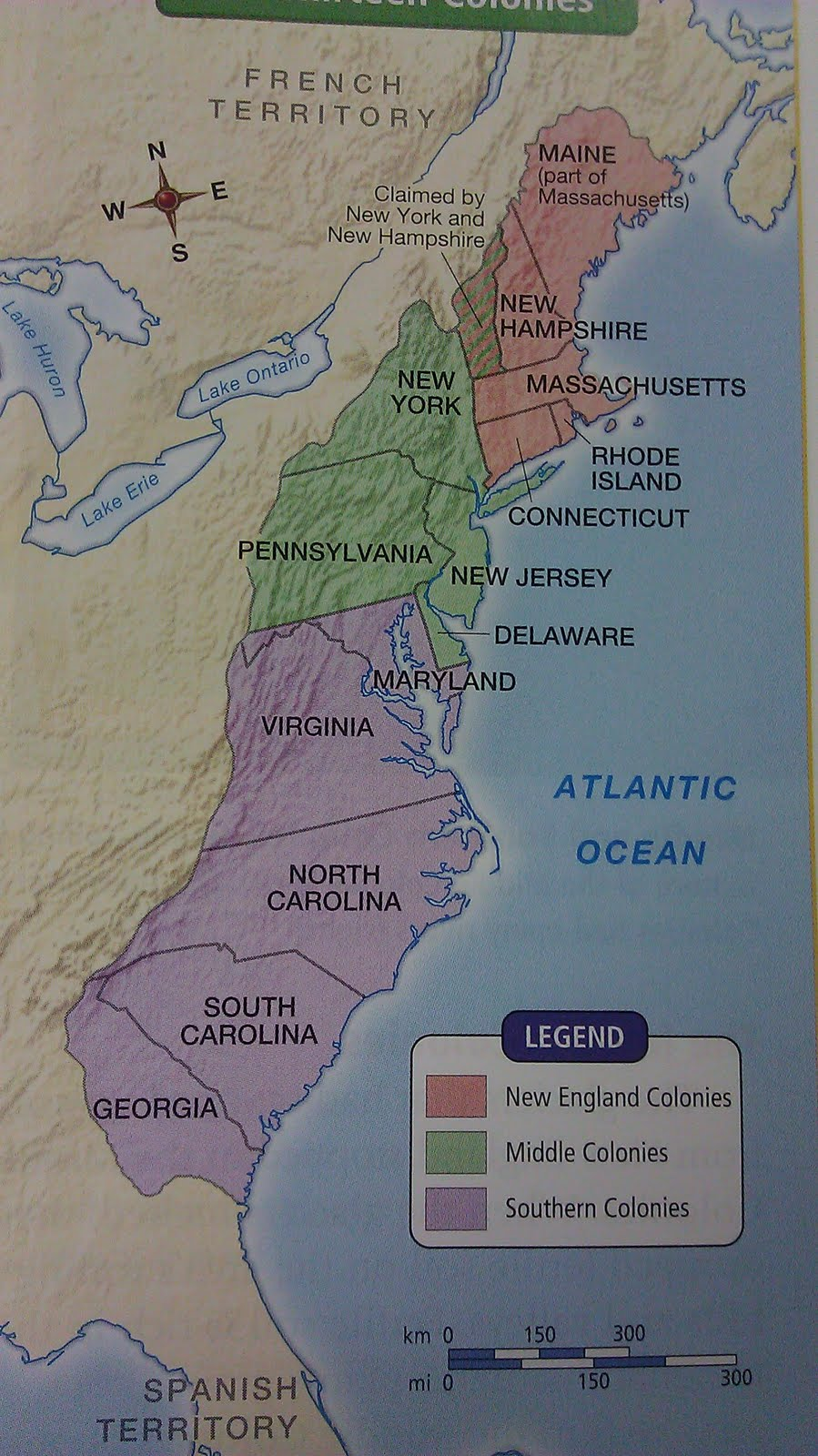 13 Colonies Regions Map of 13 colonies labeled