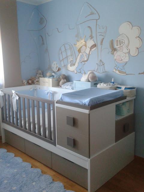 Deco chambre b b peinture murale chambre enfant prince avec son ch teau - Couleur mur chambre bebe ...
