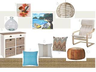 beach house mood board, blue and white mood board, sisal carpet beach house