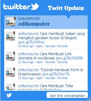 Cara Membuat Widget Twitter Update di Blogspot