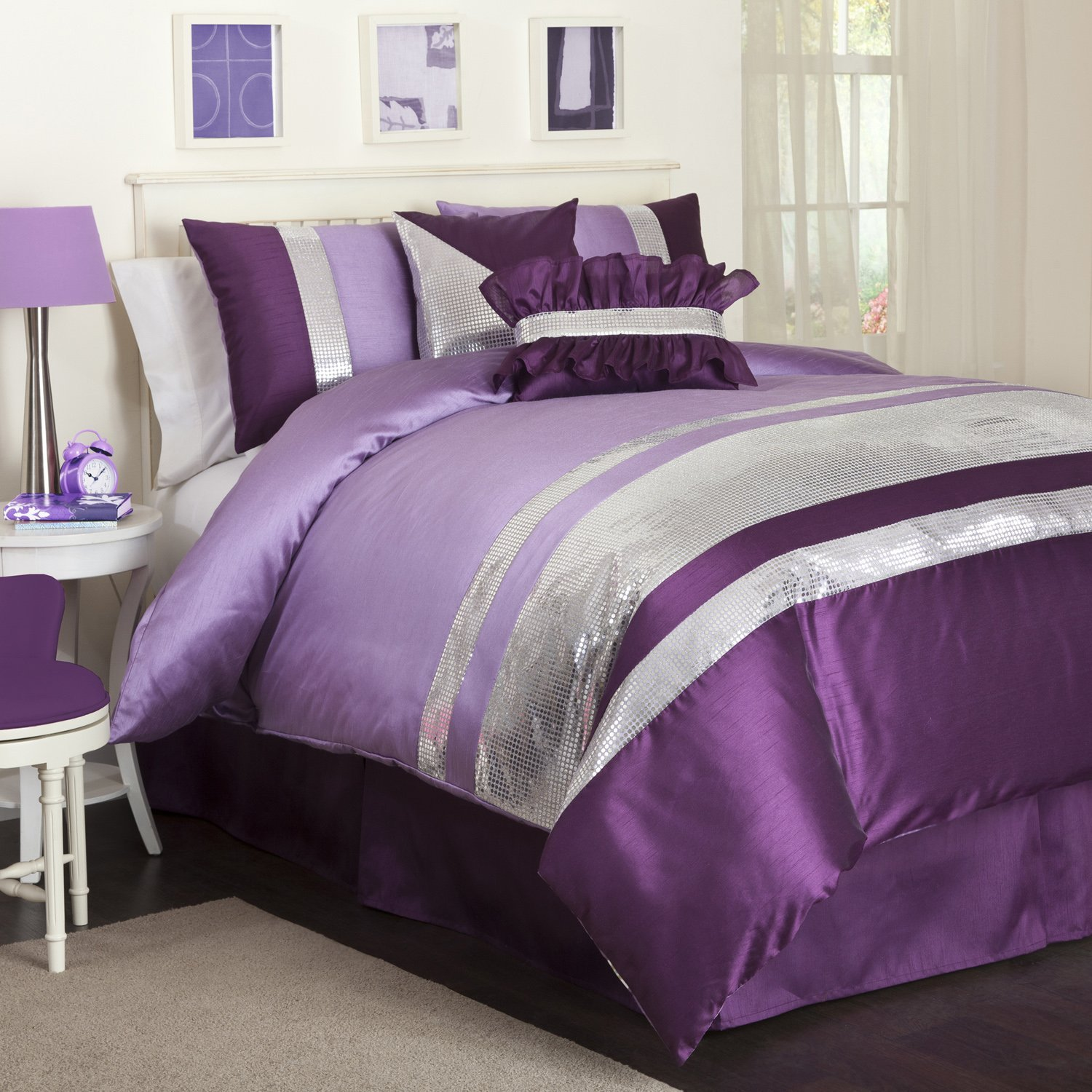 6piece purple and graygrey comforter set great for tween u0026 teensu0027 rooms