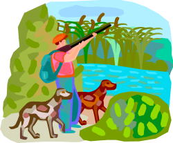 image d'un chasseur et de ses chiens