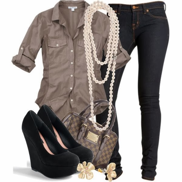 Grey shirt denim pants hand bag with black shoes