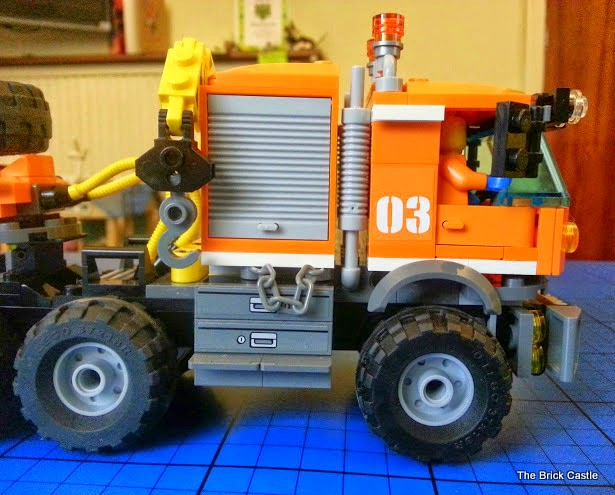 LEGO brick Articulated trailer lorry cab and driver with crane