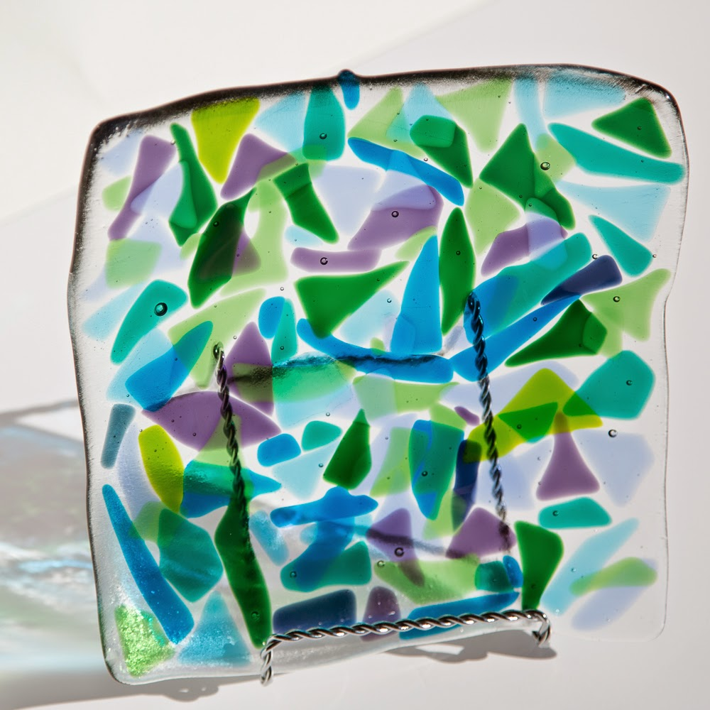 spring, purple, green, Sassy Glass Studio, fused glass, plate, abstract, colorful fused glass