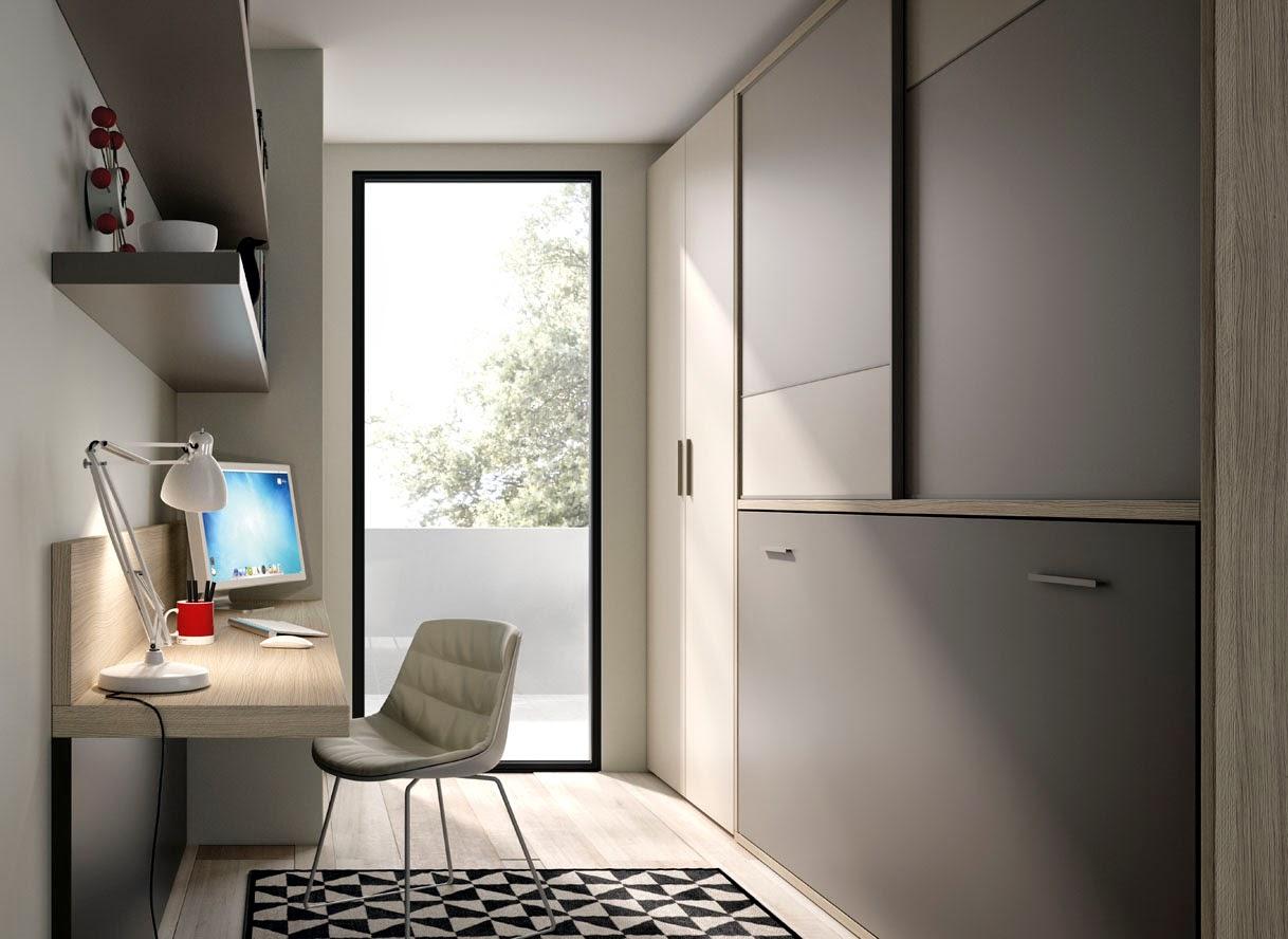 Habitación con cama abatible con armario