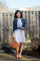 Little White Dress Eyelet And Denim Jacket