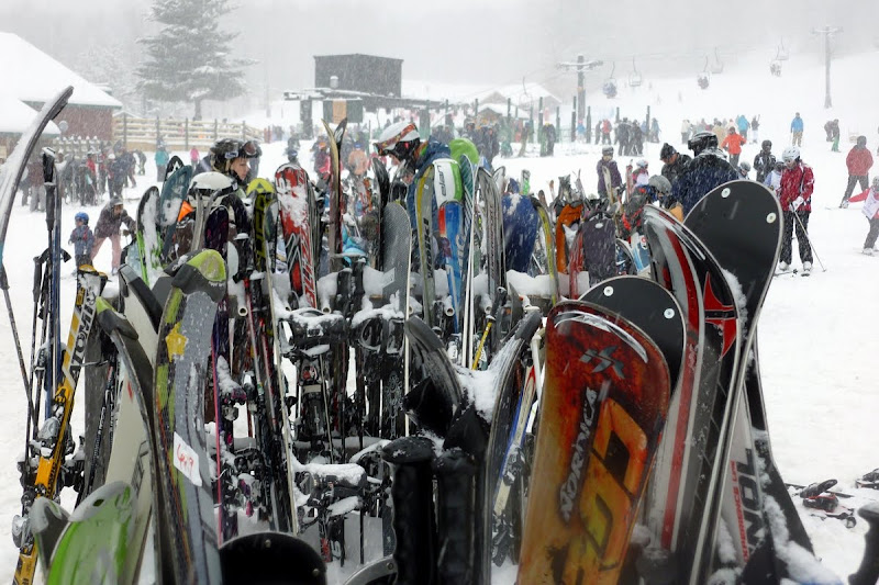 The ski racks were crowded at Gore today.  The Saratoga Skier and Hiker, first-hand accounts of adventures in the Adirondacks and beyond, and Gore Mountain ski blog.