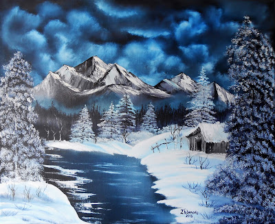 "Original painting ""Winter Night in the Mountains "". A canvas, oil,  paintinga palette knife.  In the style of Bob Ross. The size ~ 19.7"" х 23.6 x 0.7"" (50sm x 60sm x 1.8sm).  Work on is stretched, gallery a wrapped up canvas. The sides are painted, the Painting can be hung up at once. The basic tone of the Painting is darker blue, this Landscape looks perfectly and impressive in the any interior. The Painting is signed and dated by the author. If you don't know what to present, the Painting handmade is a fine and exclusive gift for all Occasion."