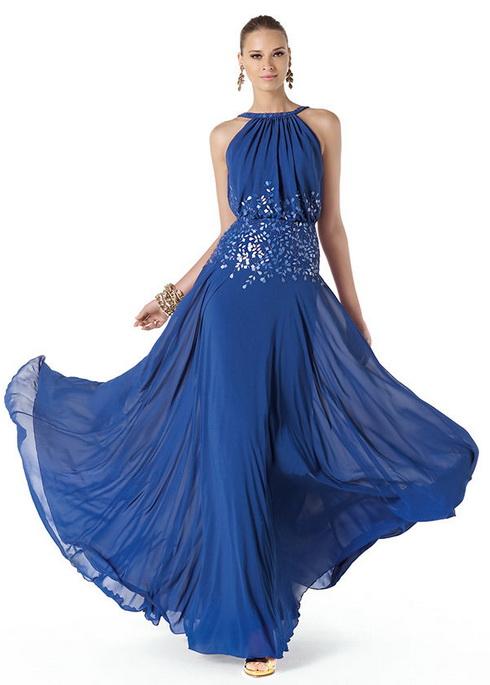 Фасоны длинных синих платьев