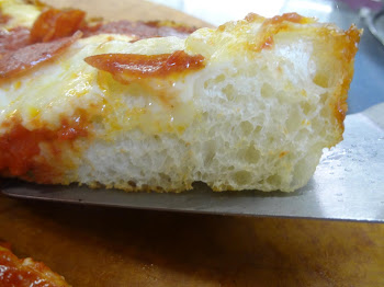Crumb shot of Detroit style pizza