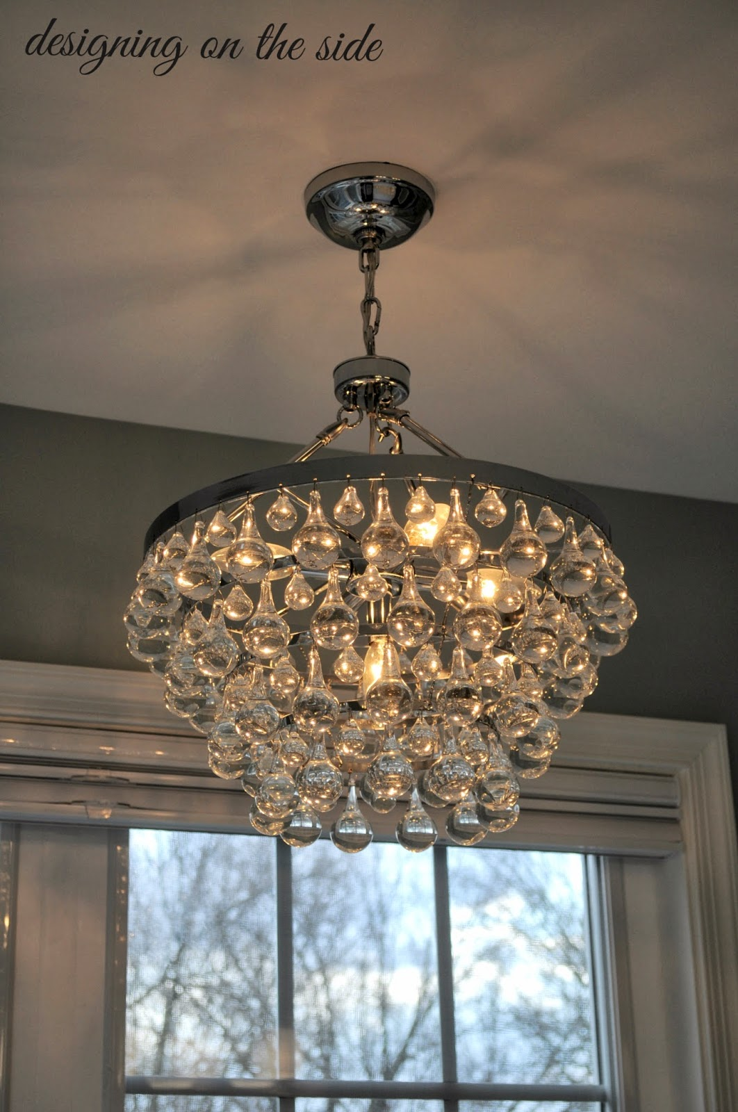 Designing on the side master bath reveal - Bathroom chandeliers crystal ...