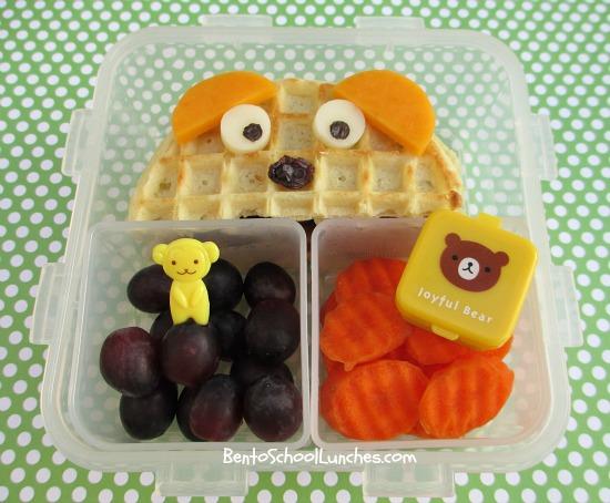 Peeking bear waffle sandwich, breakfast for lunch