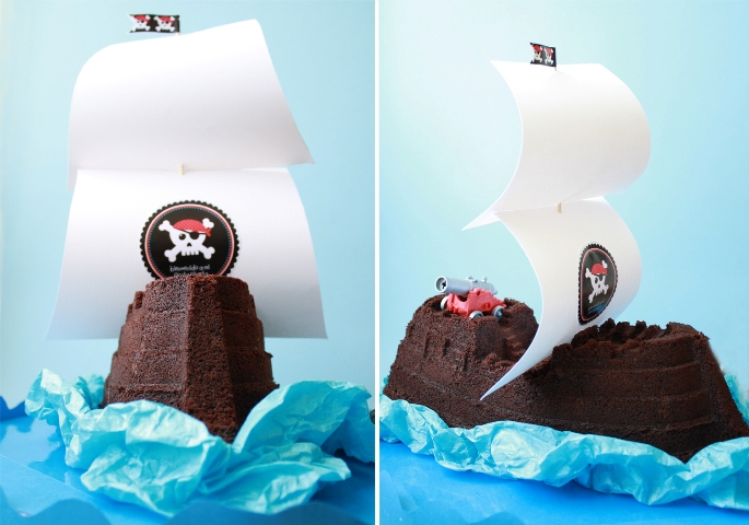 pirate, cake, party, tarta, bizcocho, chocolate, bundt, barco, pirata,cumpleaos, nios, receta