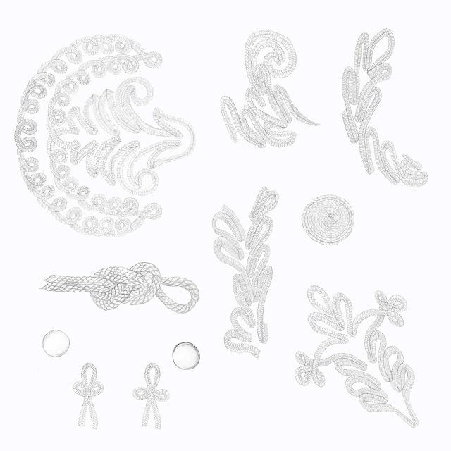 cordon, ornamentos, dibujos
