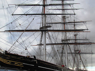 grey clouds, stormy, ship, London, Cutty Sark, London, visit, day trip, outing, mast, rigging, sailors