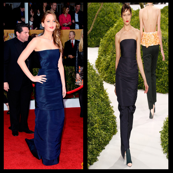 a filha do chefe Jennifer Lawrence Jimmy Choo sapatos Chopard joias SAG Awards