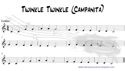 Partitura para flauta dulce Twinkle Twinkle Campanita. La Brújula Musical.Recorder sheet music
