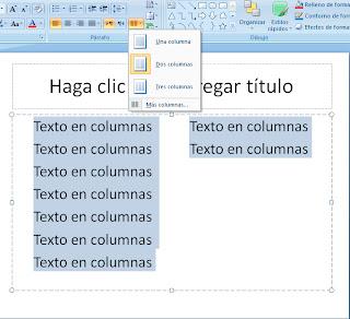 Columnas en powerpoint 2007