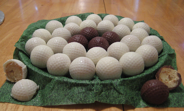 Golf Ball Cheesecake Balls - Showing Cheesecake Inside