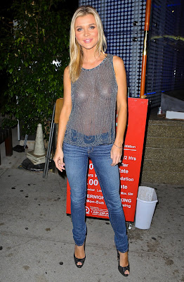 Joanna Krupa Braless See Through for dinner with her fiance Romain Zago