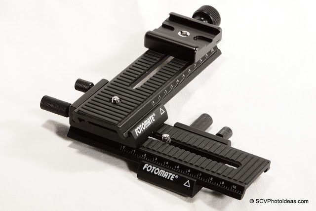 Fotomate LP-01 Geared Macro Rail pair + QAL-500 clamp overview