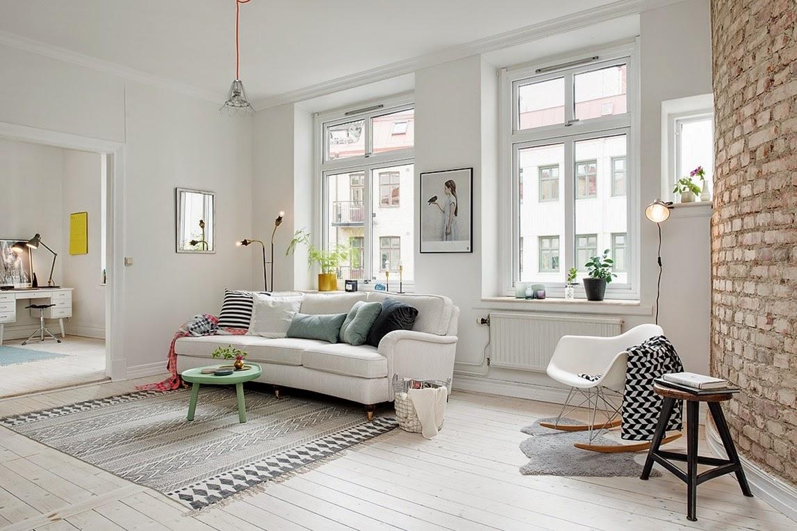 Kok Tegelvagg : My Bohemic home Tegelvogg i kok, vardagsrum och sovrum