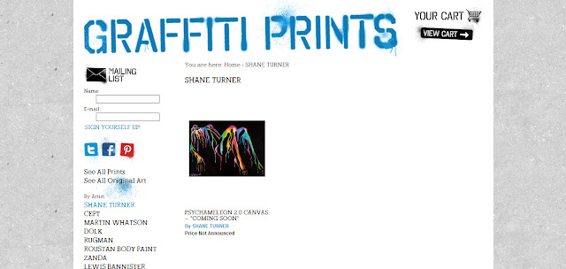Screenshot of Canadian Artist Shane Turner on Graffitiprints.com