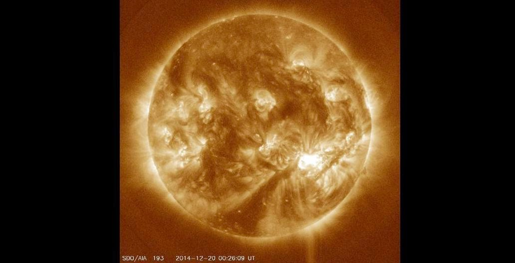 Image of the Sun on Dec. 20, 2014. Credit: NASA/Solar Dynamics Observatory