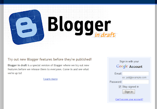 Blogger in draft Login Page