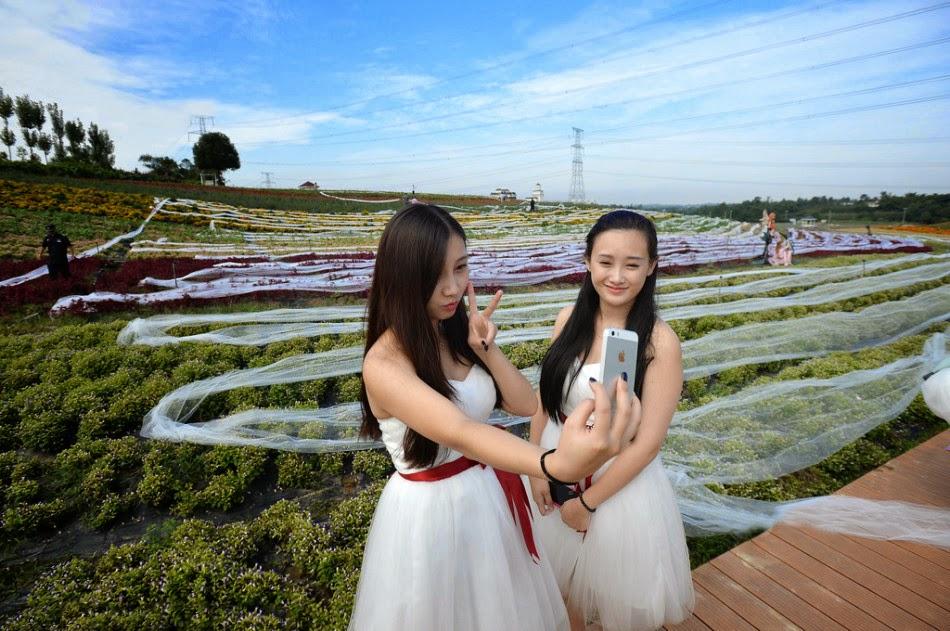 Gambar gambar unik Pengantin pakai gaun sepanjang 4 8km
