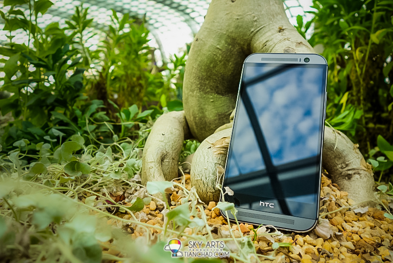 HTC M8 looks  great when placed at Flower Dome in Gardens by the Bay Singapore