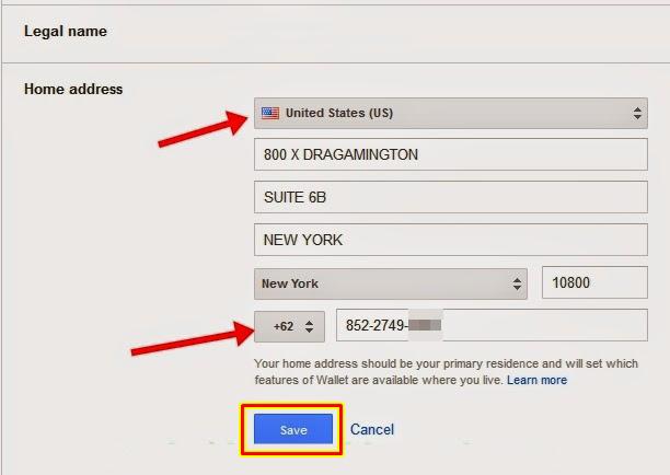 mengubah alamat google wallet