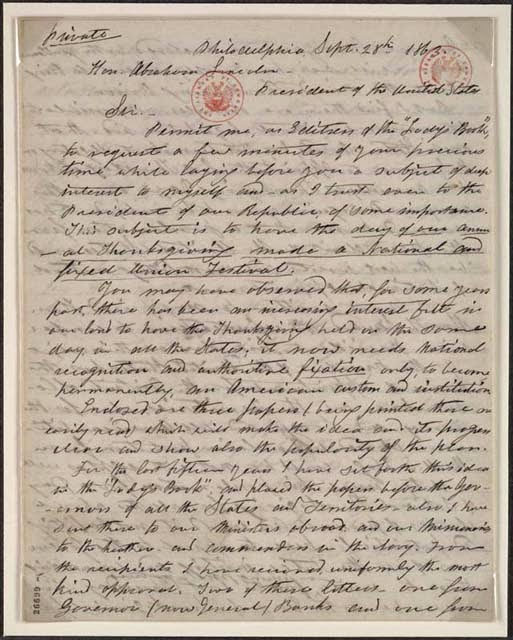 Sara Hale's Letter to President Lincoln