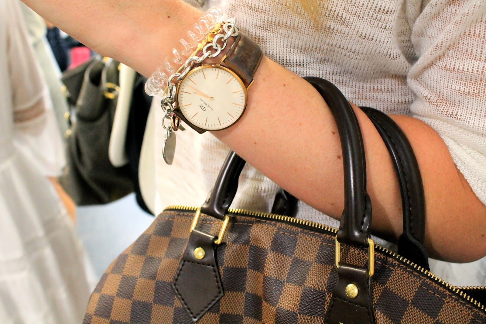 Louis Vuitton, Daniel Wellington, watch, bag