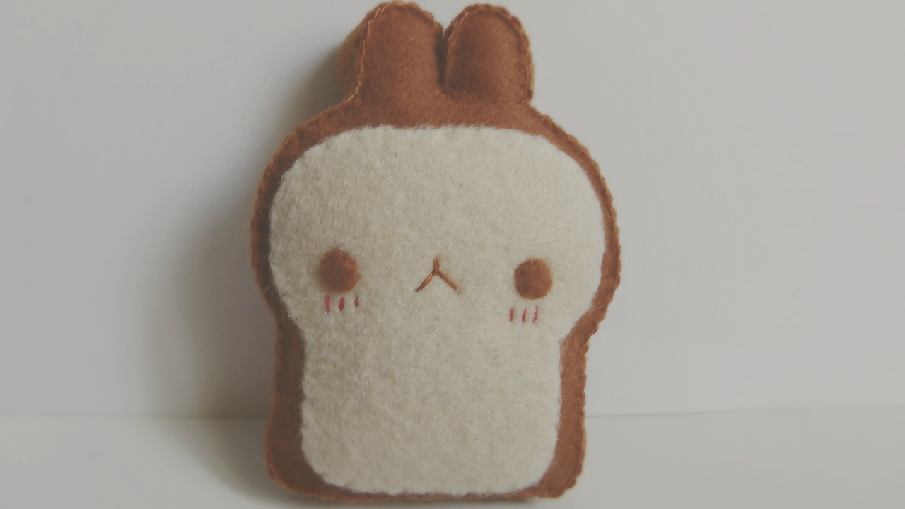 Molang Toast Plushie, Plush, Felt Craft, Tutorial, DIY, Sewing