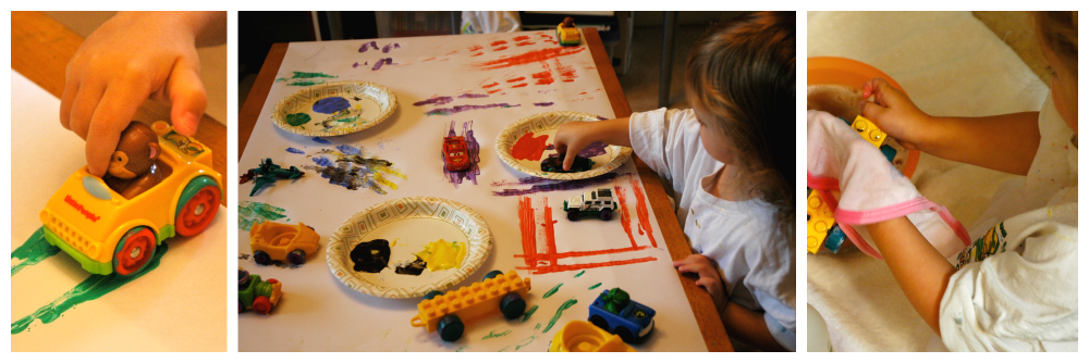 Collage, weekly home preschool transportation, painting with cars