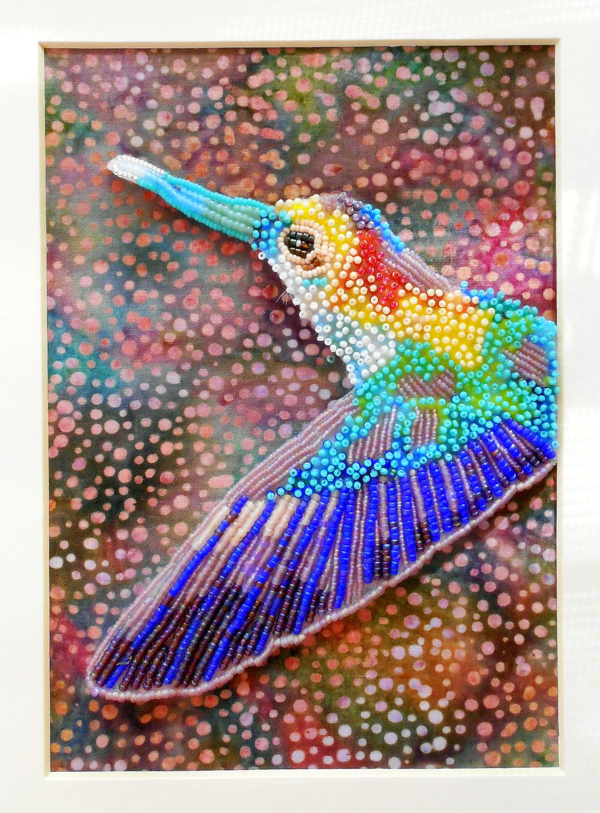 eleanor pigman seed bead embroidered hummingbird