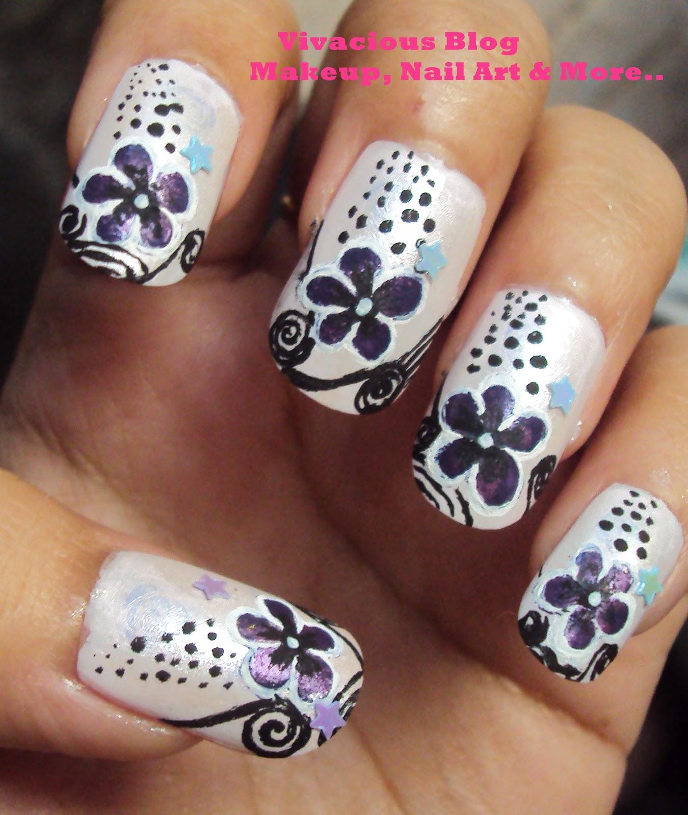 Flower Nail Art: Vivacious Blog: Purple Pink Flower Nail Art