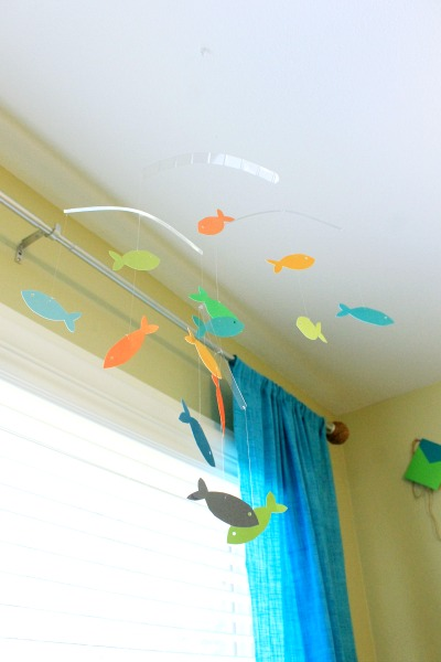 Nautical boy's room tour! paper fish mobile diy