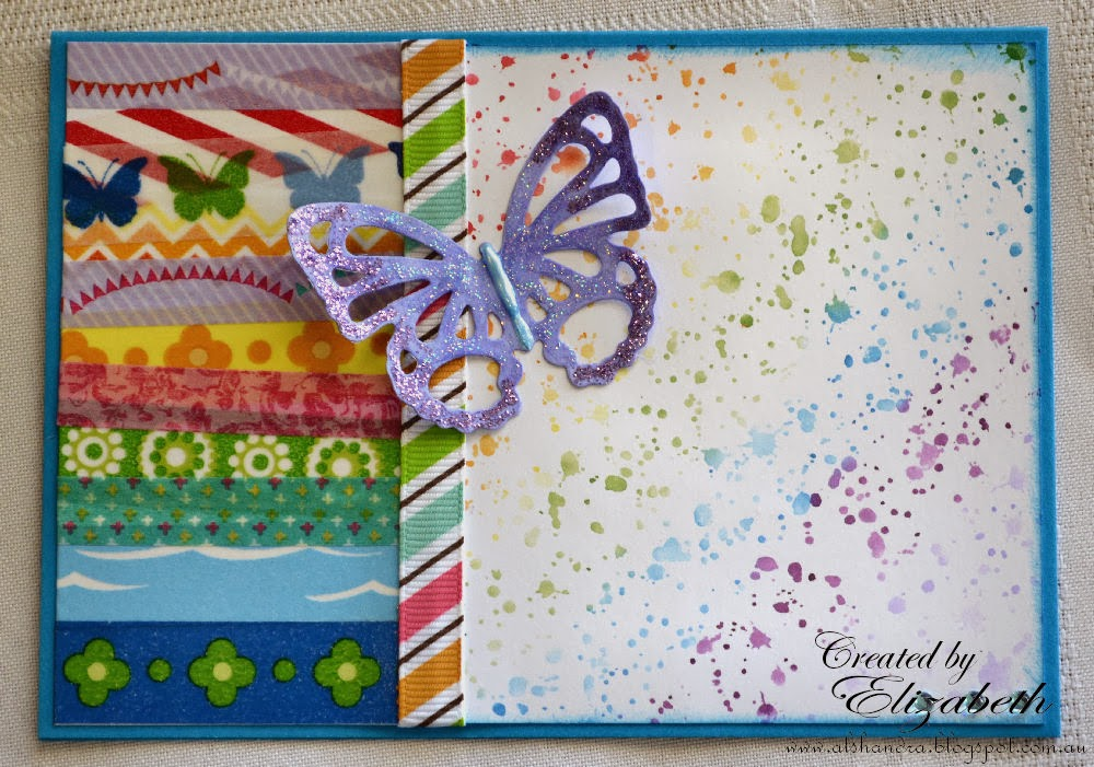 Elizabeth Whisson, Darkroom Door splatter, butterfly, Spellbinders Grand Shapeabilities Wonderful Wings, washi tape, rainbow, stickles, liquid pearls