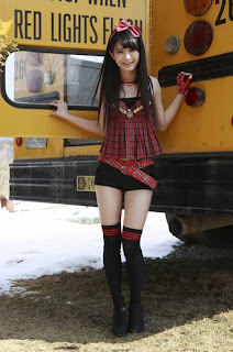 Shiori Ogiso Japanese Cute Idol Sexy Red Dress With Yellow School Bus 7